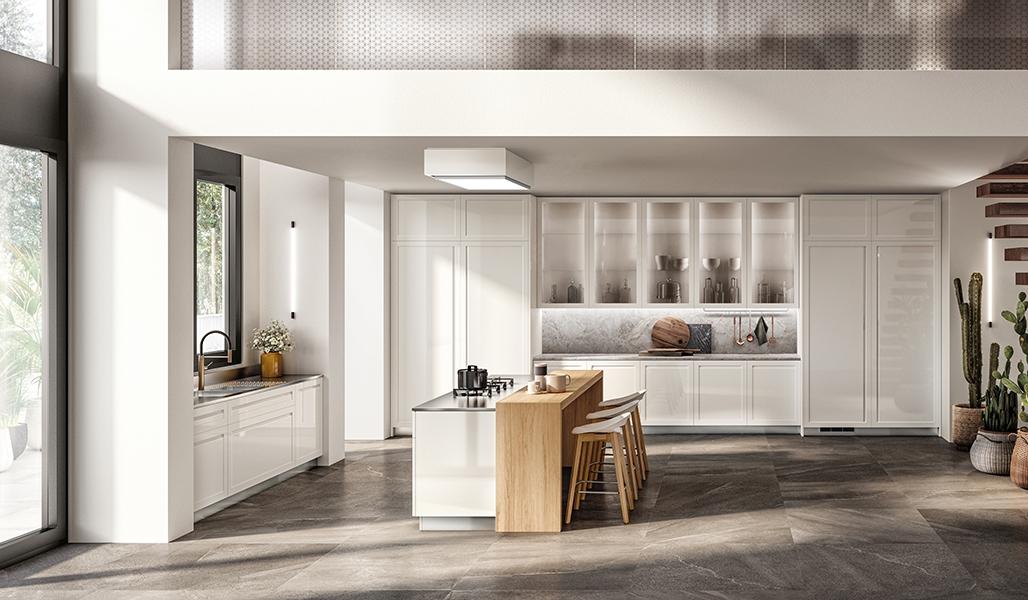 Cocina Carattere Restayling: Combinación compuesta por acabado lacado brillo Blanco Prestige en puertas con las encimeras de mármol Fior di Pesco Carnico, Acero Satinado y enchapado Roble Nordic.