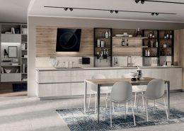 Dos tonos de melamina decorativa: melamina decorativa Concrete Jersey para los muebles bajos y el armario abierto, melamina decorativa Roble Voyage para las columnas, las repisas y el panel posterior equipado Setup.