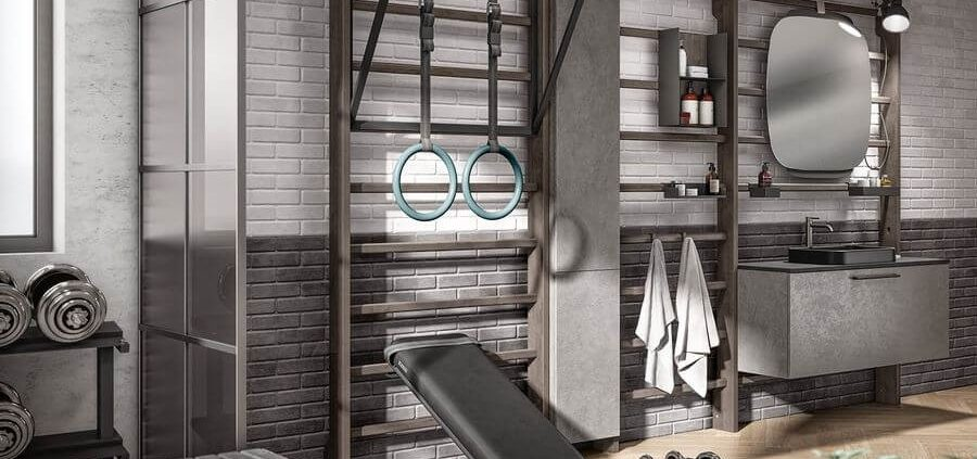 un gimnasio en casa en el baño